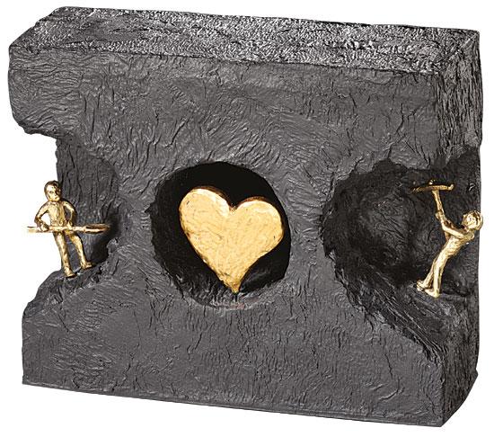 """Skulptur """"Zueinander finden"""", Bronze mit Kunststein"""
