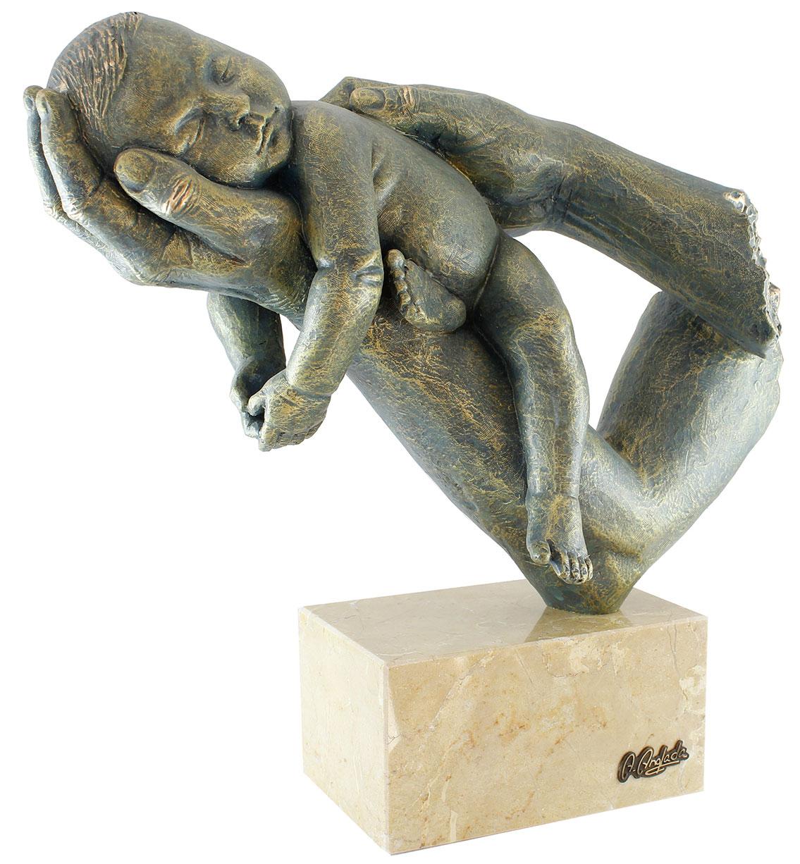 """Skulptur """"Mutter und Kind"""", Kunstguss Steinoptik"""