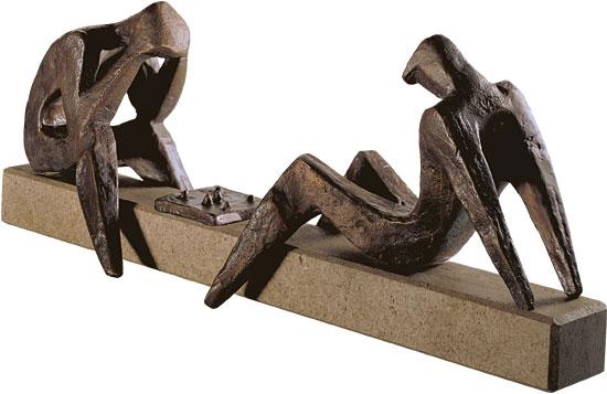 "Skulptur ""Die Schachspieler"", Bronze"