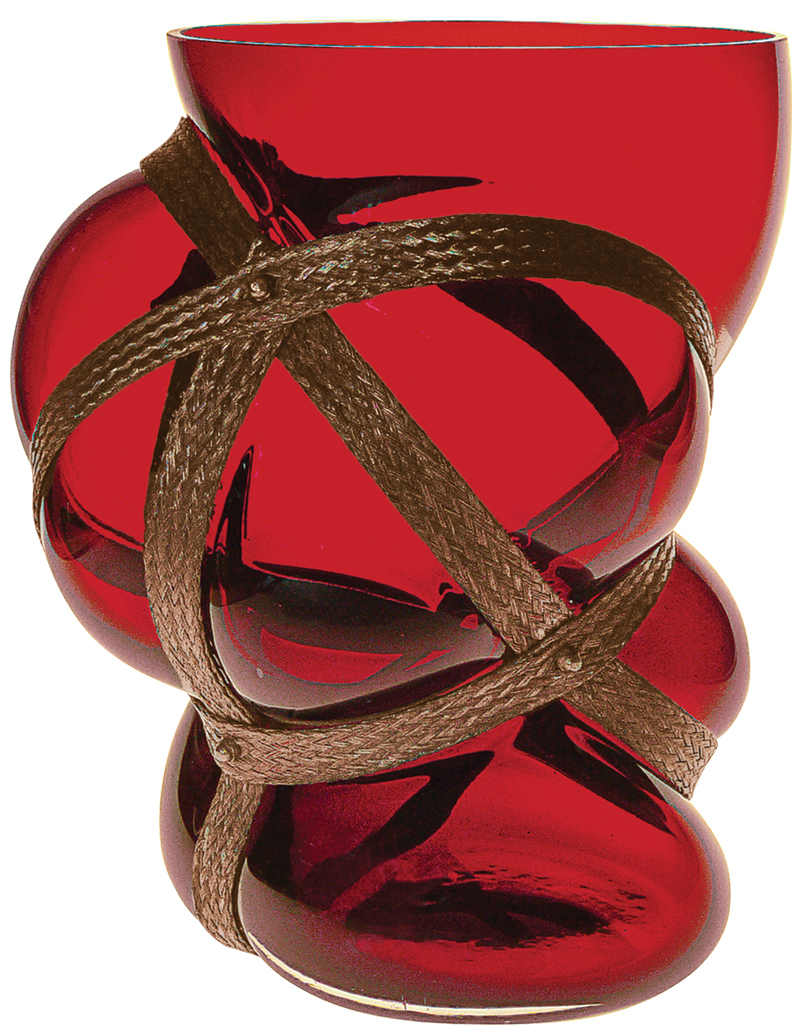 """Vase """"Fire Red"""", Glas/Metall"""