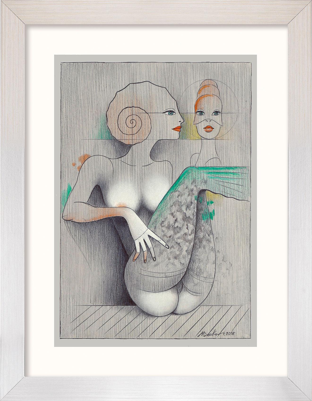 "Bild ""Ammonite auf Grau"" (2018), gerahmt"