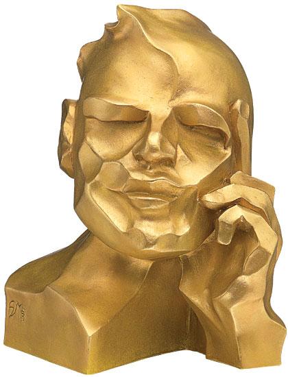 """Skulptur """"Der Denker"""", Version in Steinguss goldfarben"""