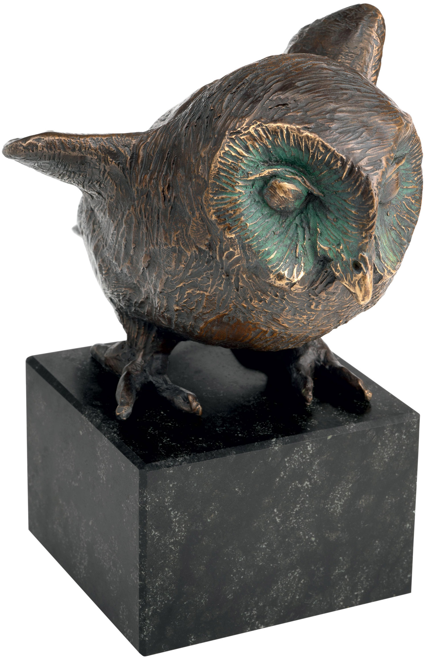 "Eulen-Skulptur ""Die Hüterin des Nestes"", Bronze"