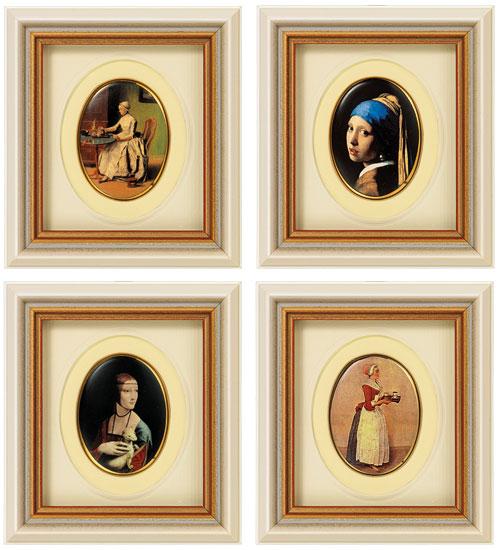 """Vier Miniatur-Porzellanbilder """"Weltberühmte Meisterwerke"""" im Set"""
