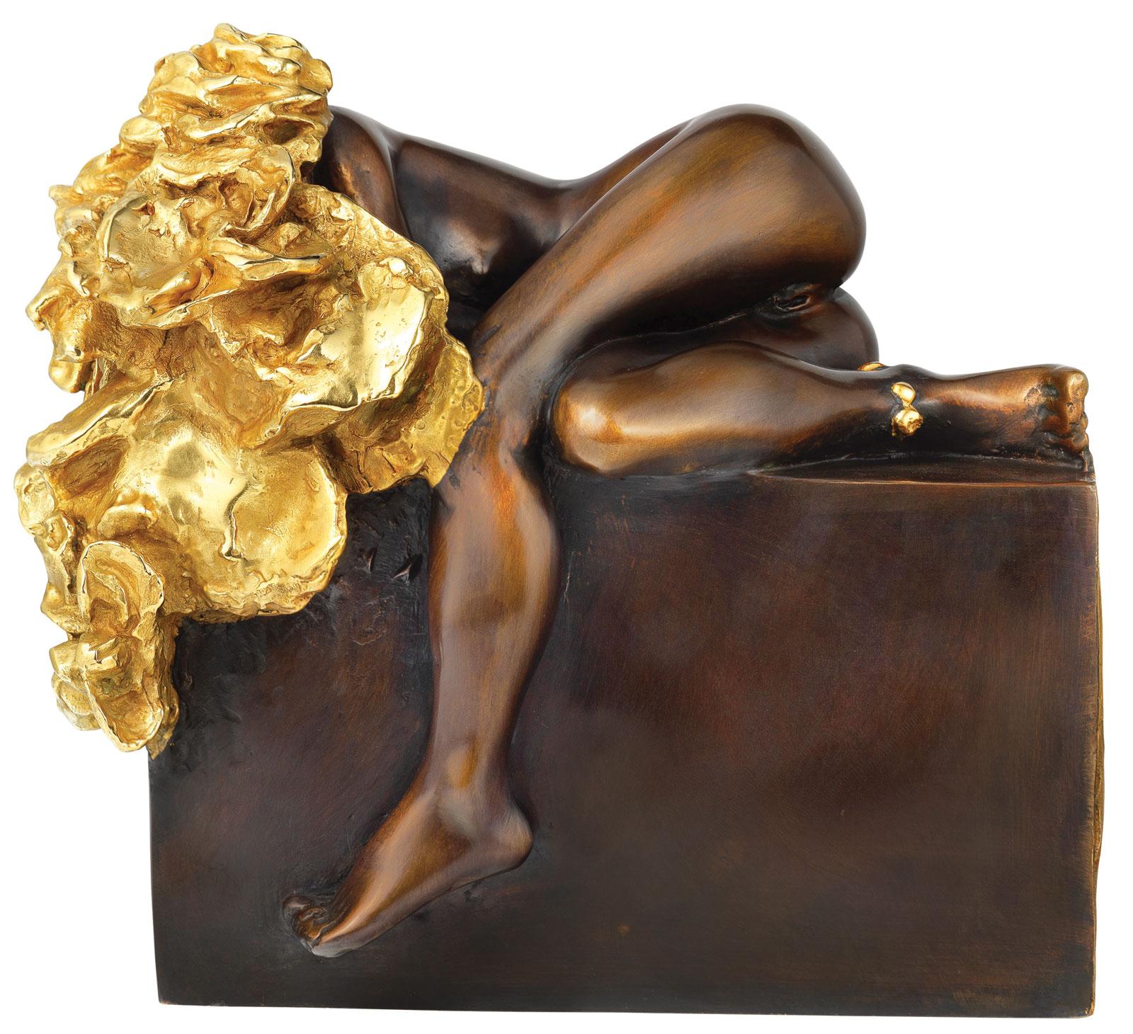 "Skulptur ""Liegendes Rosenmädchen"", Bronze teilvergoldet"