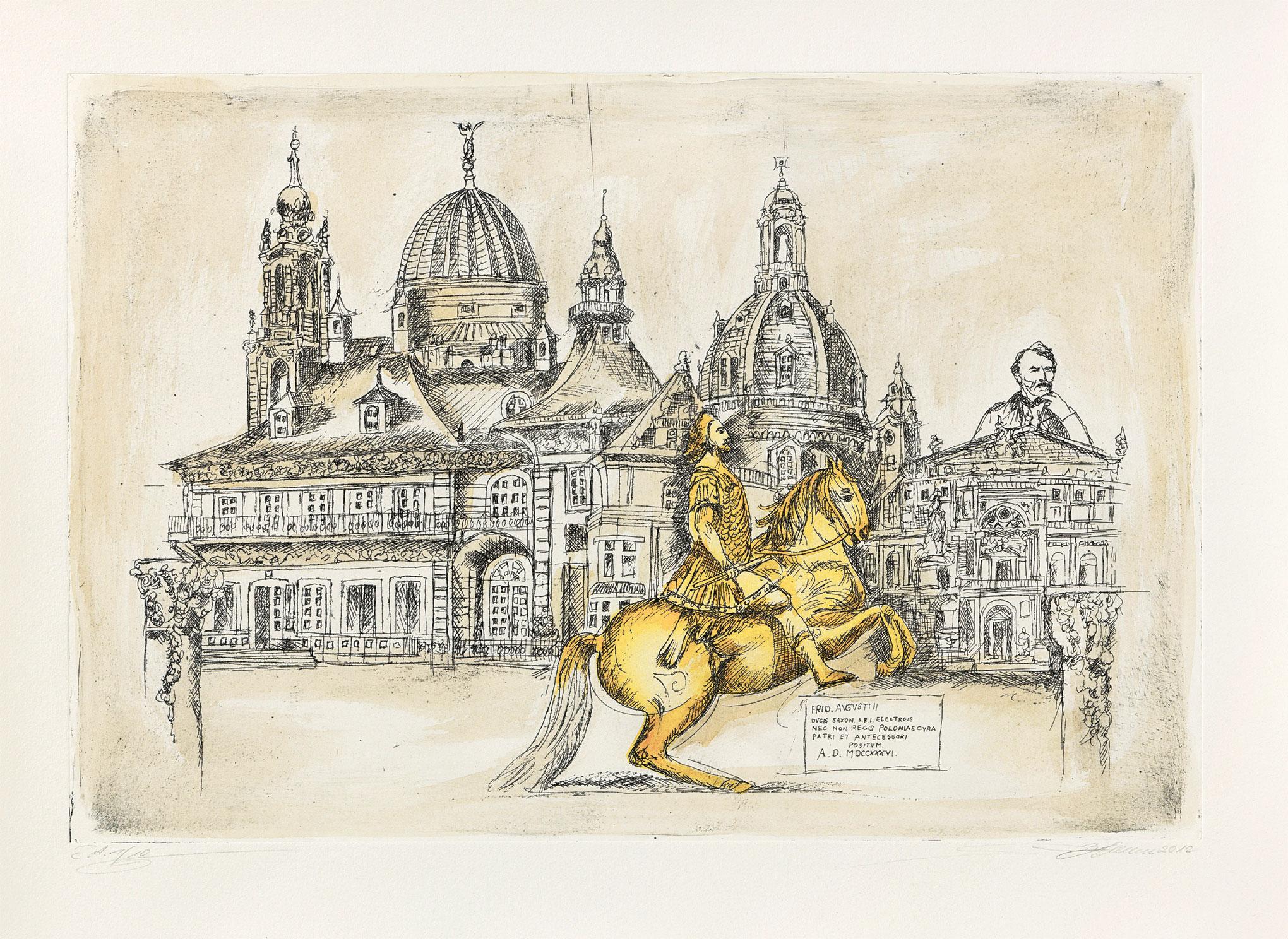 """Bild """"Goldener Reiter"""", ungerahmt"""