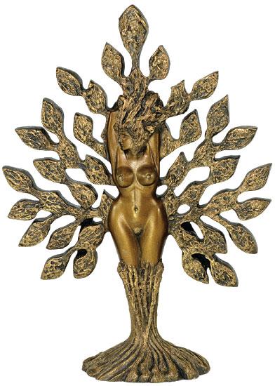 """Skulptur """"Tree of Life"""", Version in Marmorguss goldbemalt"""
