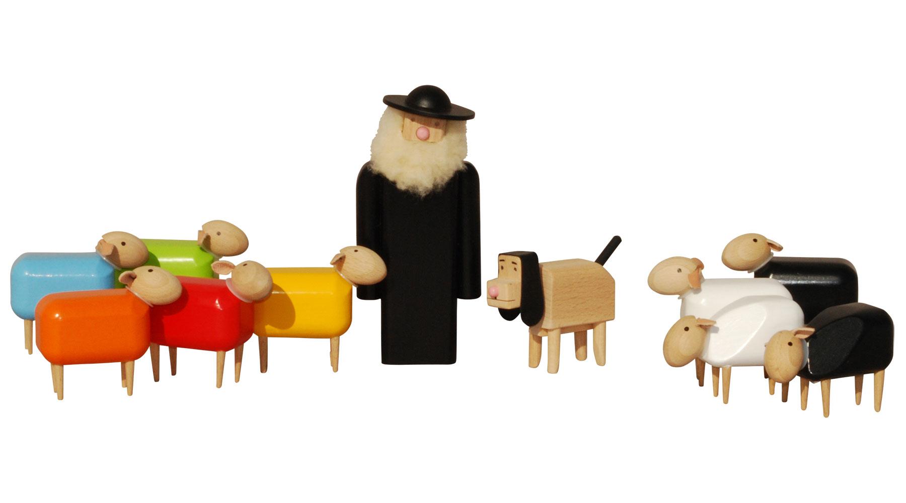 """11-teiliges Holzfiguren-Set """"Schäfer mit Herde"""""""