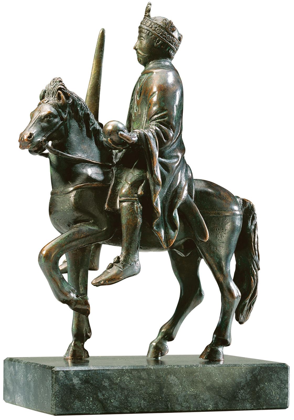 """Reiterstatuette """"Karl der Große"""", Version in Metallguss"""
