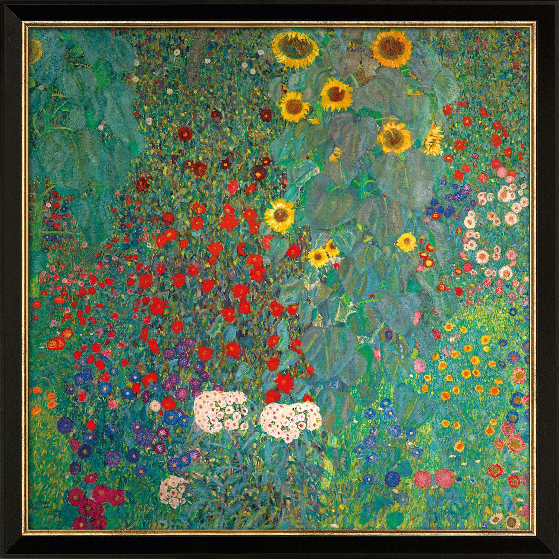 """Bild """"Bauerngarten mit Sonnenblumen"""" (um 1907), Version schwarz-goldfarben gerahmt"""