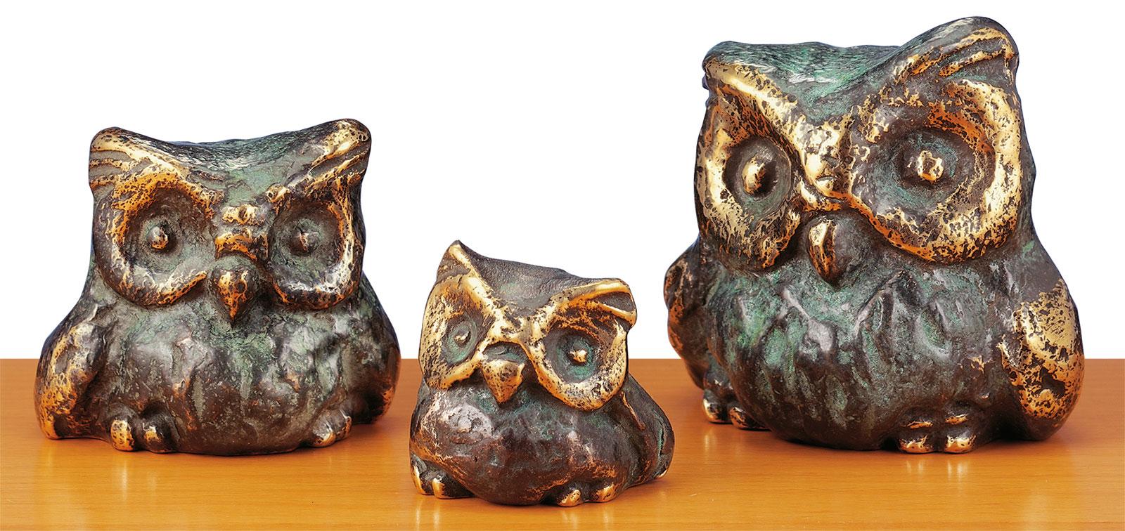 """Eulentrio """"Eine kauzige Familie"""", Bronze"""