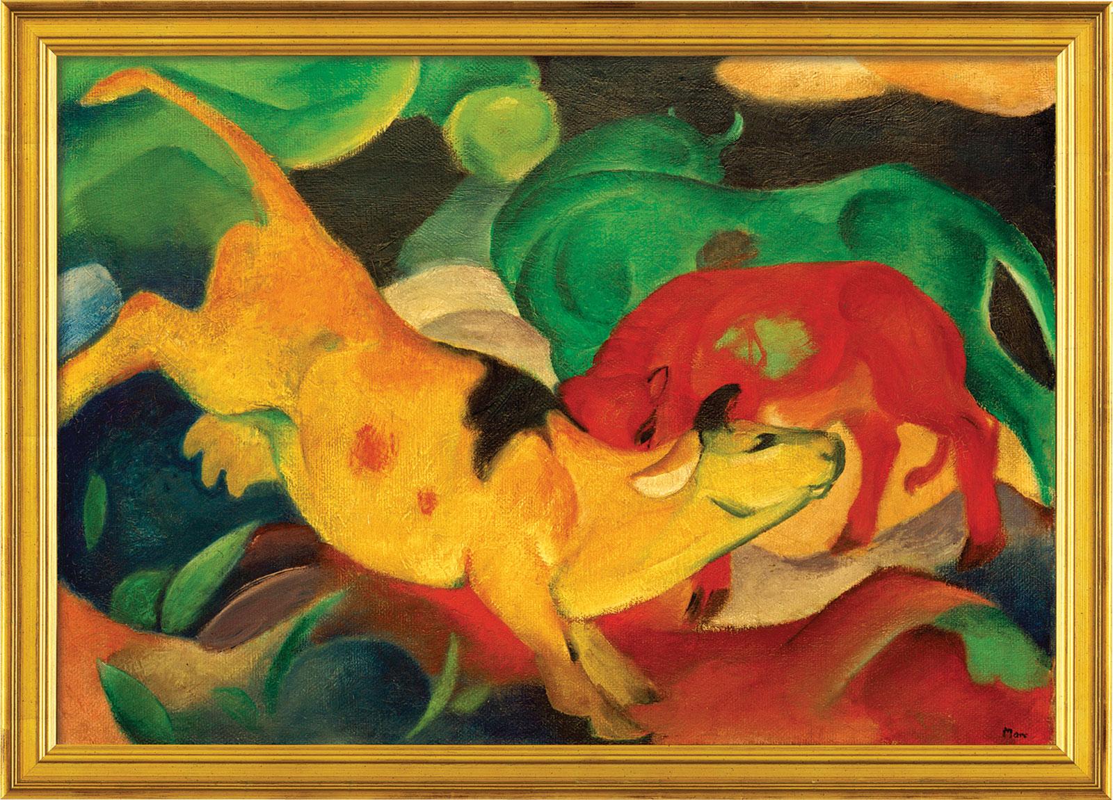 """Bild """"Kühe gelb-rot-grün"""" (1912), gerahmt"""