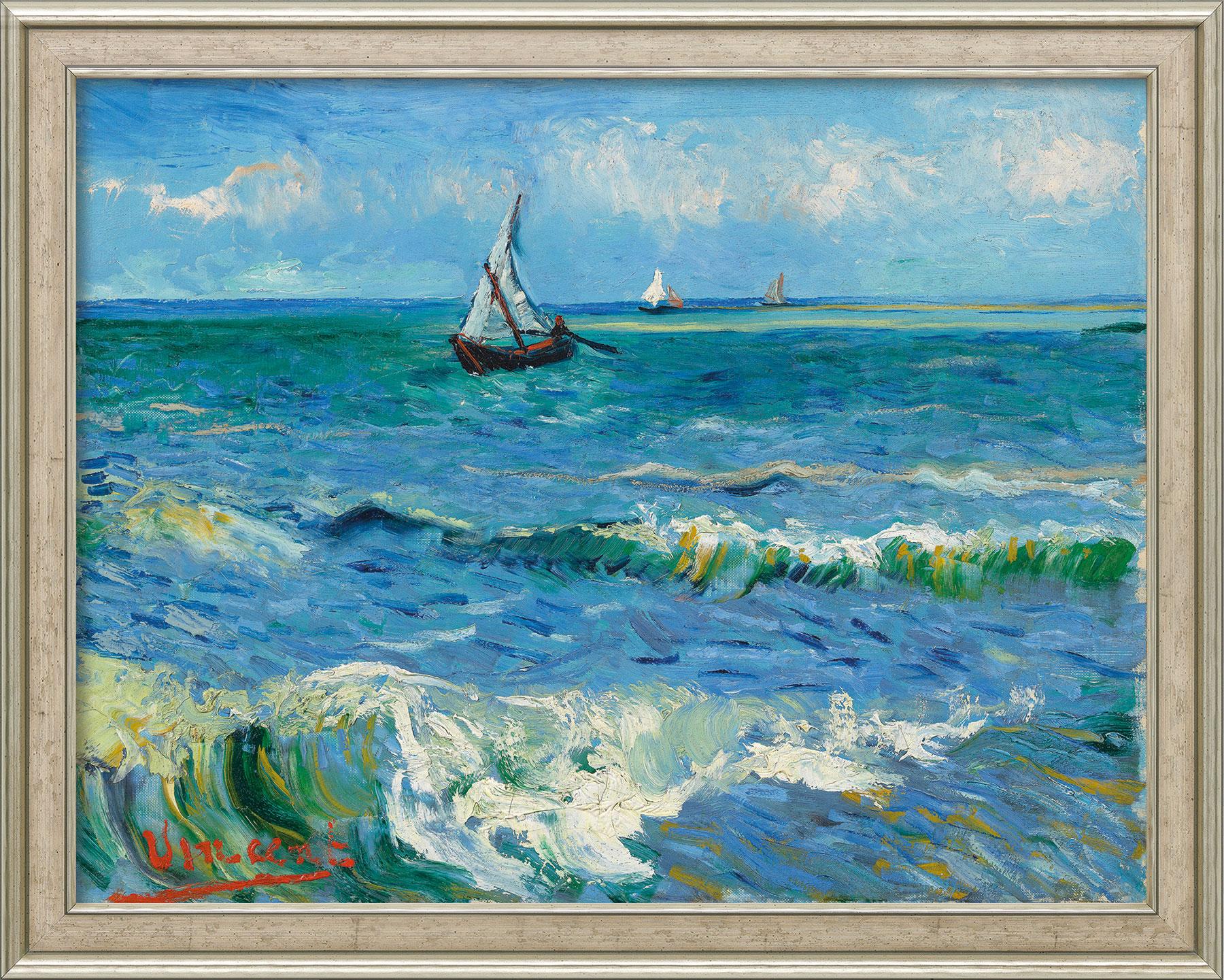 "Bild ""Das Meer bei Les Saintes-Maries-de-la-Mer"" (1888), Version silber gerahmt"