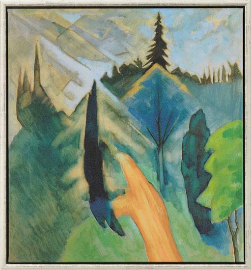 """Bild """"Park in Dilborn mit lindgrünen Bäumen"""" (1915), gerahmt"""