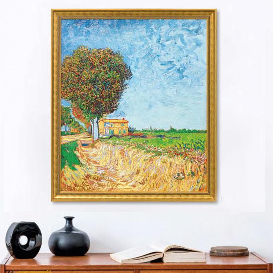 """Bild """"Allee bei Arles mit Häusern"""" (1888), gerahmt"""
