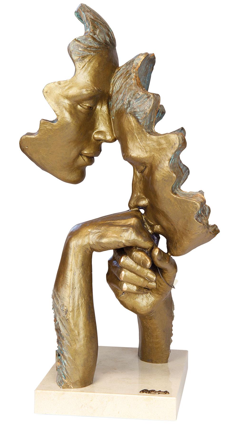 "Skulptur ""Vertrautheit"", Kunstguss Steinoptik"