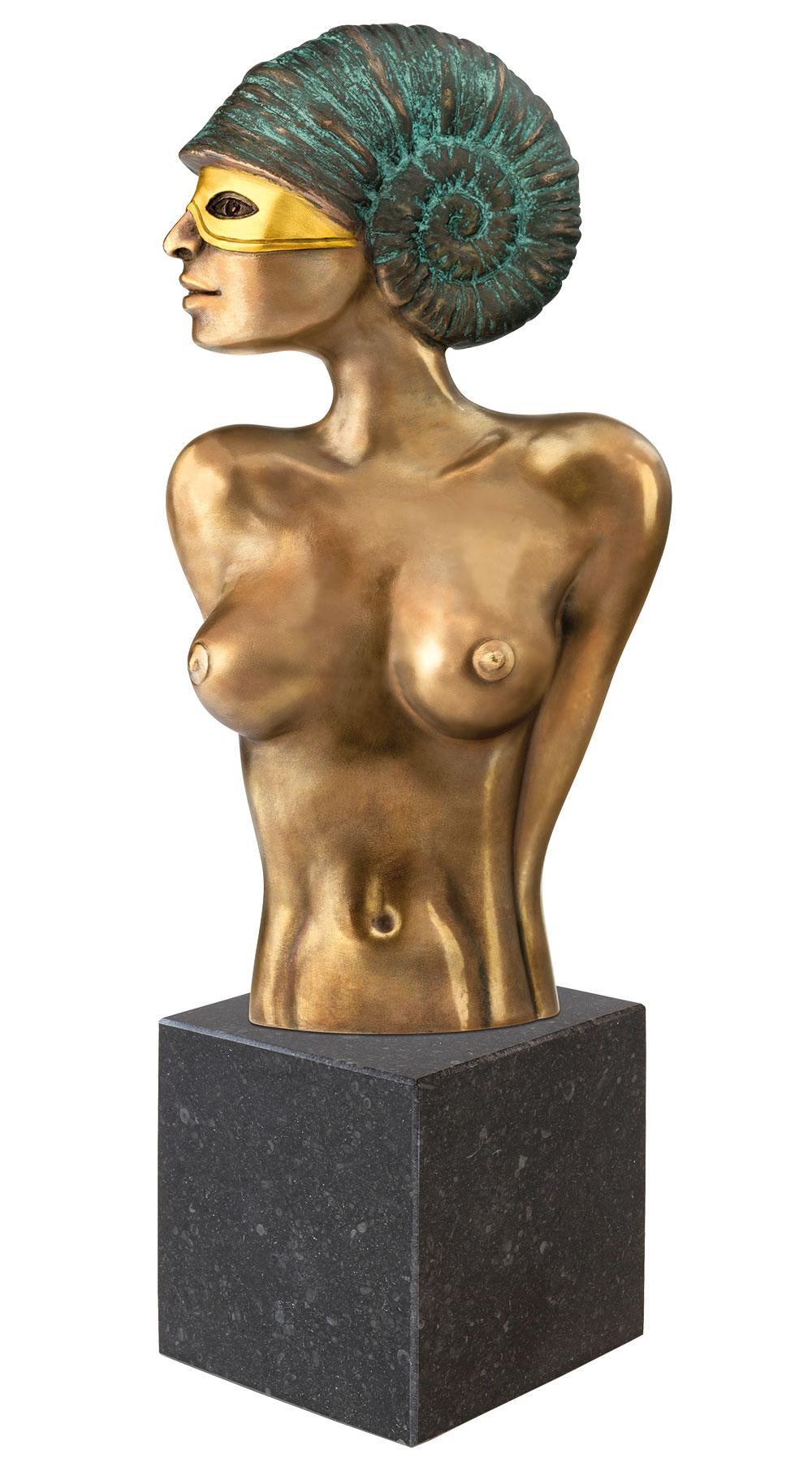 """Skulptur """"Ammonite mit Maske"""", Version in Bronze teilvergoldet"""