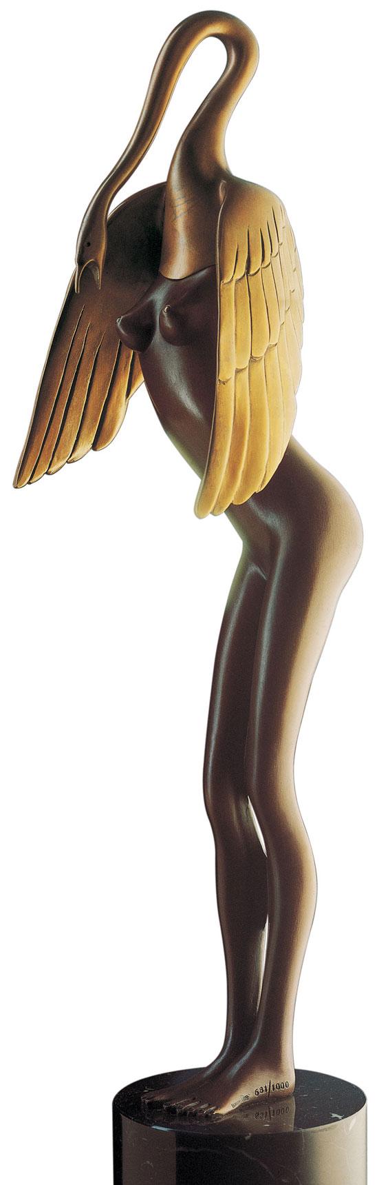 """Skulptur """"Leda col cigno"""", Bronze auf Marmorsockel"""
