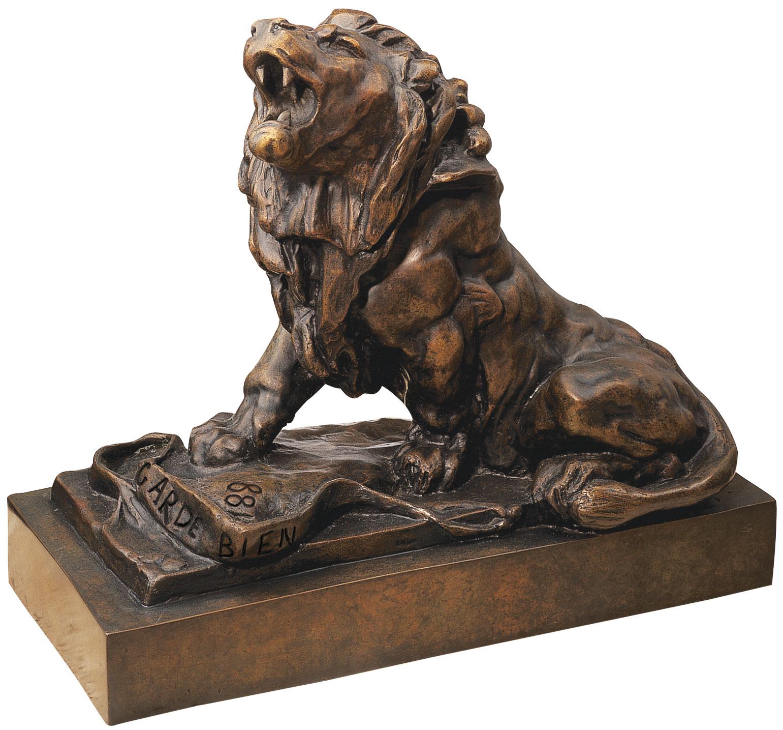 """Skulptur """"Der weinende Löwe"""" (Le lion qui pleure), Version in Bronze"""