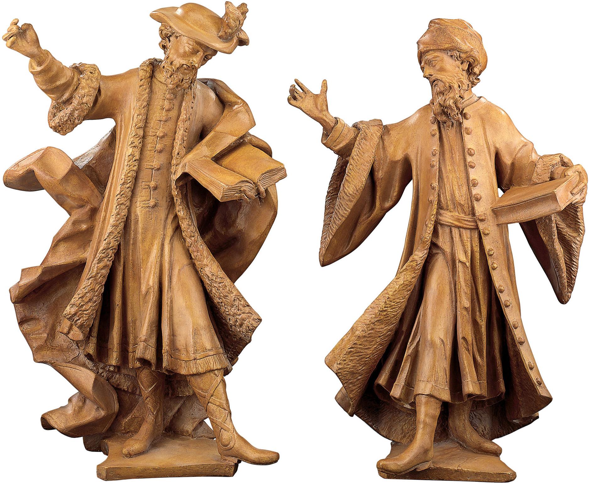 "2 Skulpturen ""Cosmas"" und ""Damian"" im Set, Kunstguss Holzfinish"