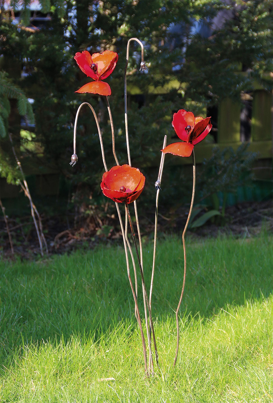 "Gartenstecker-Blumenset ""Mohn"", 3-teilig"
