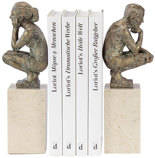 "Skulpturenpaar / Buchstützen ""Boy and Girl"", Kunstguss Steinoptik"