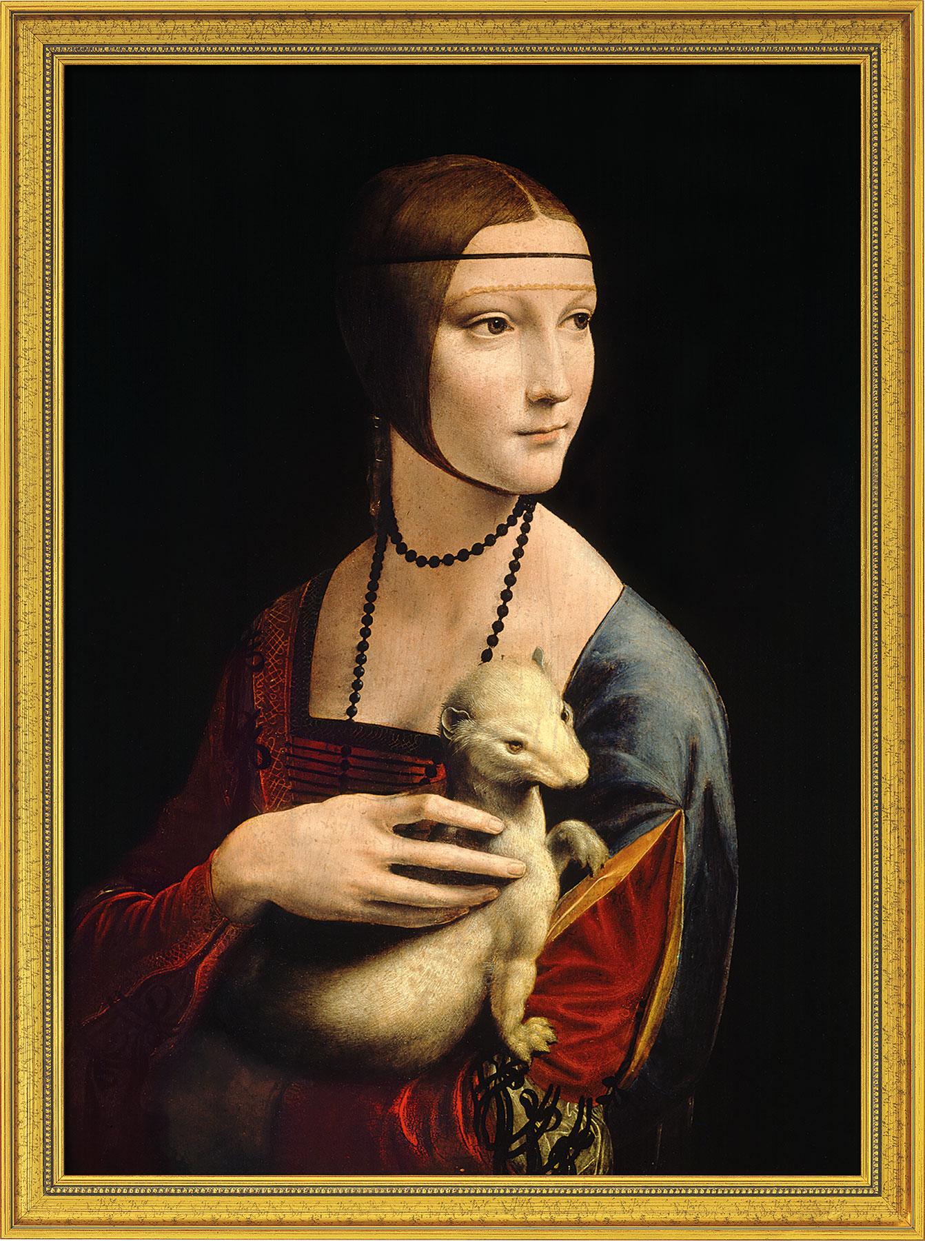 """Bild """"Die Dame mit dem Hermelin"""" (1488-90), gerahmt"""