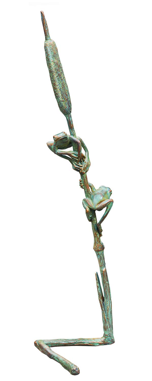"""Gartenskulptur """"Halm mit zwei Fröschlein"""", Bronze"""