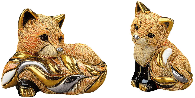 "2 Keramikfiguren ""Rotfuchs mit Jungem"" im Set"