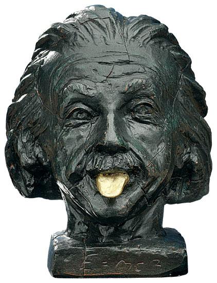 """""""Einstein-Kopf mit goldener Zunge"""""""