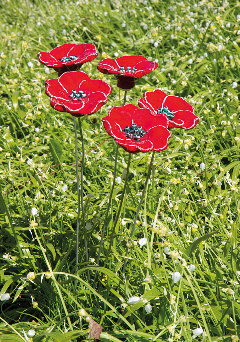 """Gartenstecker-Blumenset """"Rote Blüten"""", 5-teilige Keramik"""