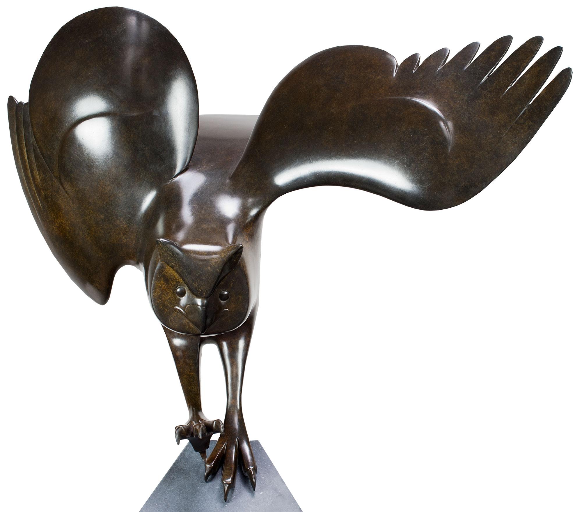 """Skulptur """"Landende Eule Nr. 5"""", Bronze braun/schwarz"""