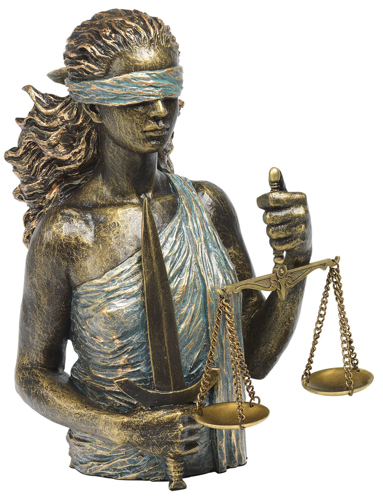 "Skulptur ""Justitia"", Kunstguss Steinoptik"