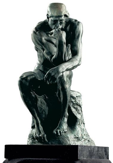"""Skulptur """"Der Denker"""" (38 cm), Version in Kunstbronze"""