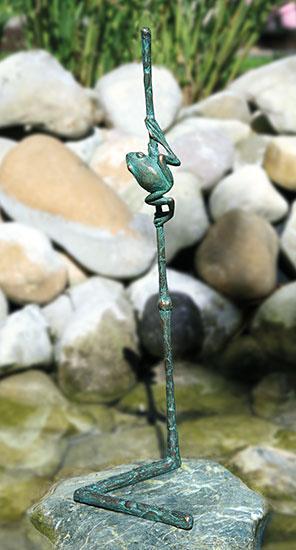 """Gartenskulptur """"Halm mit Fröschlein"""", Bronze"""