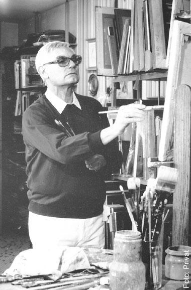 der Künstler Bernard Peltriaux im Atelier