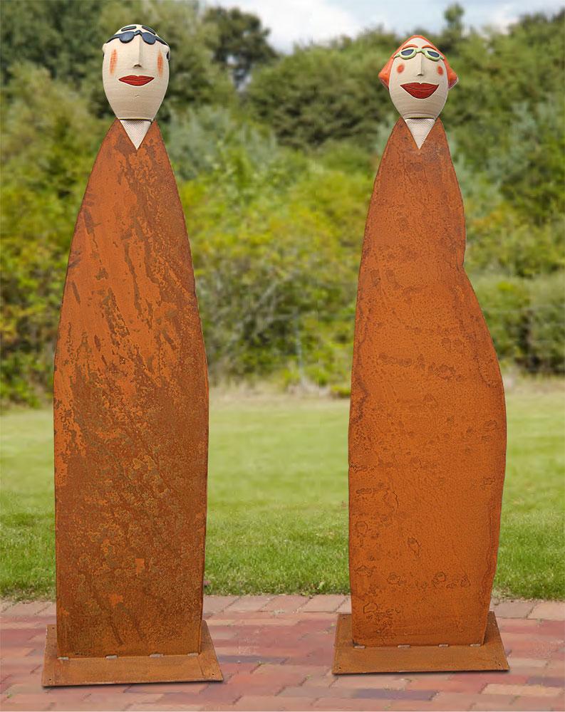 """2 Gartenskulpturen """"Linus und Lena"""" in Lebensgröße im Set"""