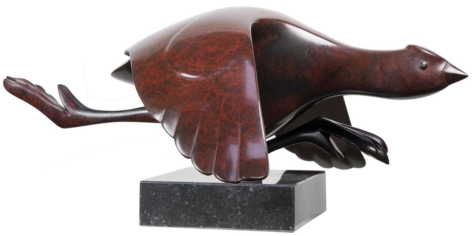 "Skulptur ""Blässhuhn"", Bronze braun"