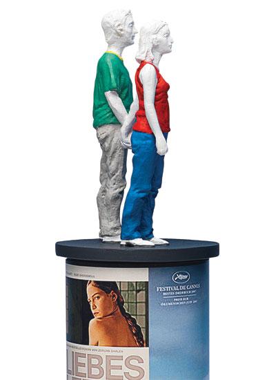"Skulptur ""Säulenheilige - Paar I"", Kunstguss handbemalt"