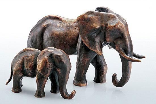 """""""Elefanten-Mutter und -Kind"""", Bronze"""