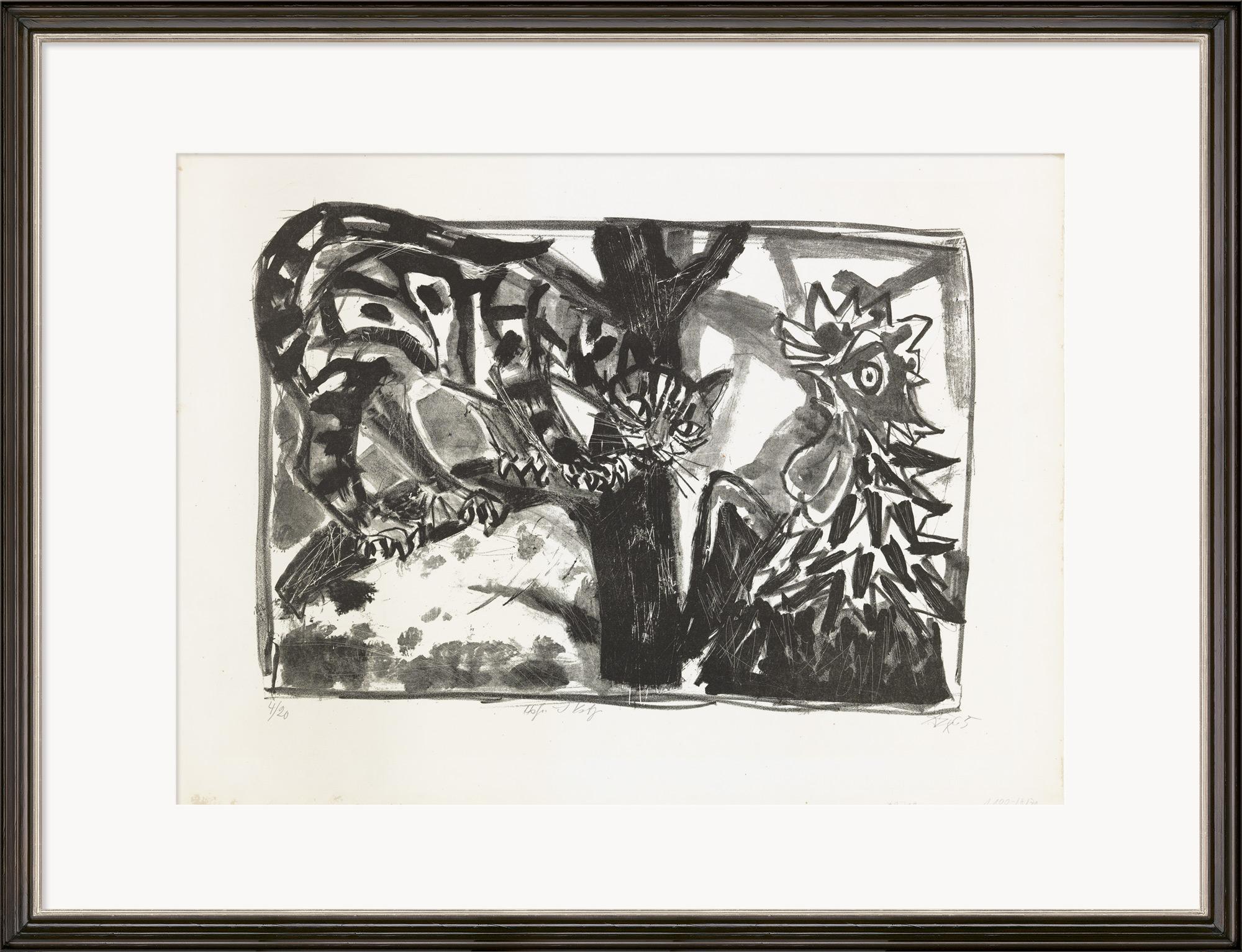"""Bild """"Hahn und Katze"""" (1951)"""