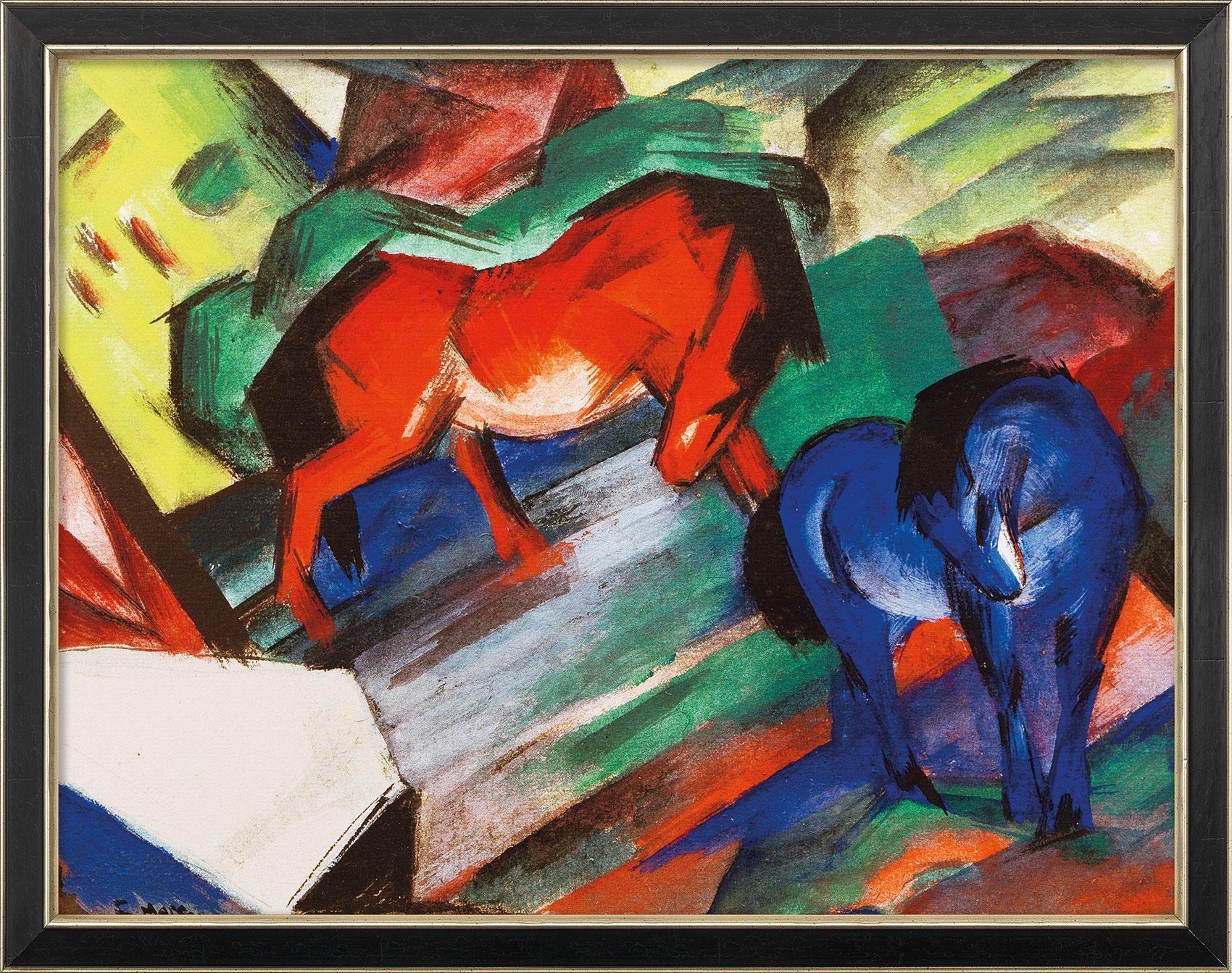 """Bild """"Rotes und blaues Pferd"""" (1912), gerahmt"""