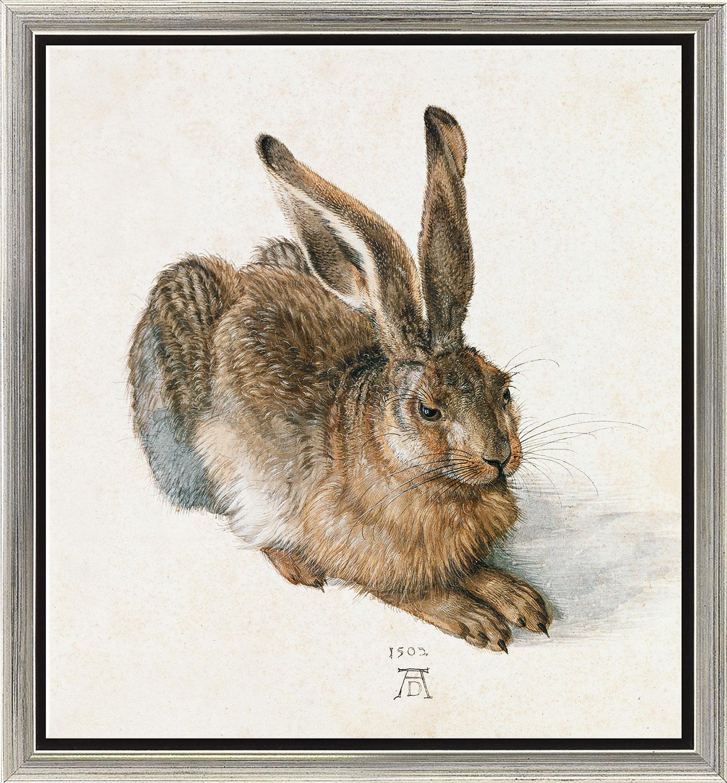 "Bild ""Junger Feldhase"" (1502), Version silber gerahmt"
