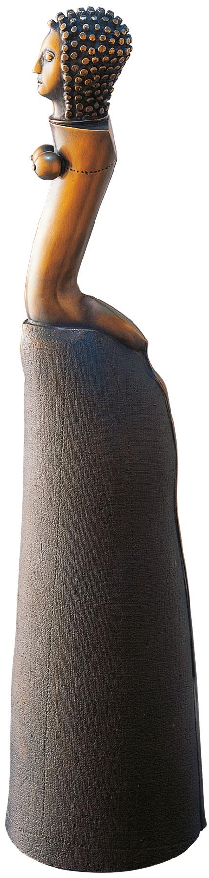 "Skulptur ""Figur mit langem Rock"", Bronze"