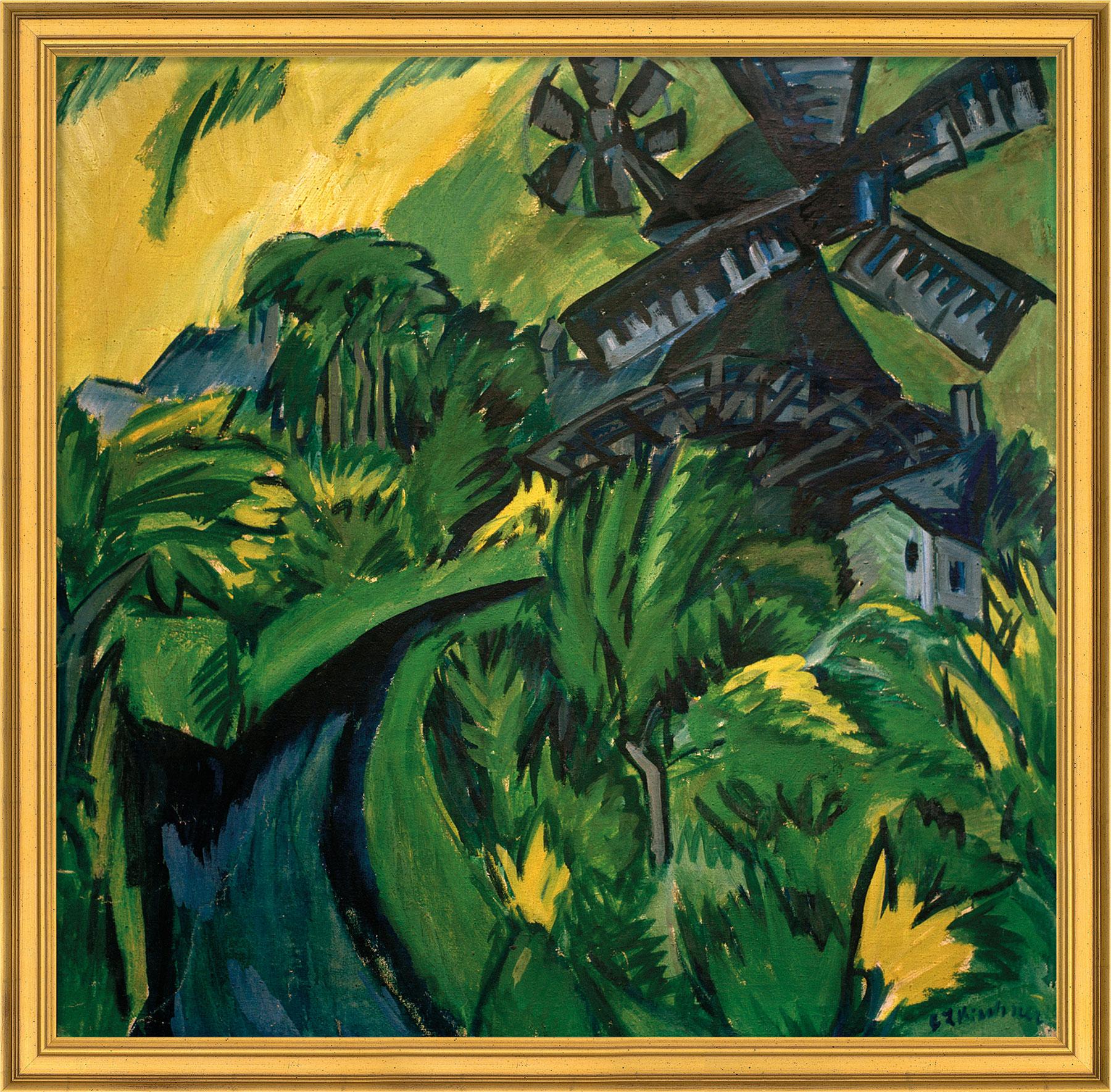 """Bild """"Windmühle auf Fehmarn"""" (1913), gerahmt"""