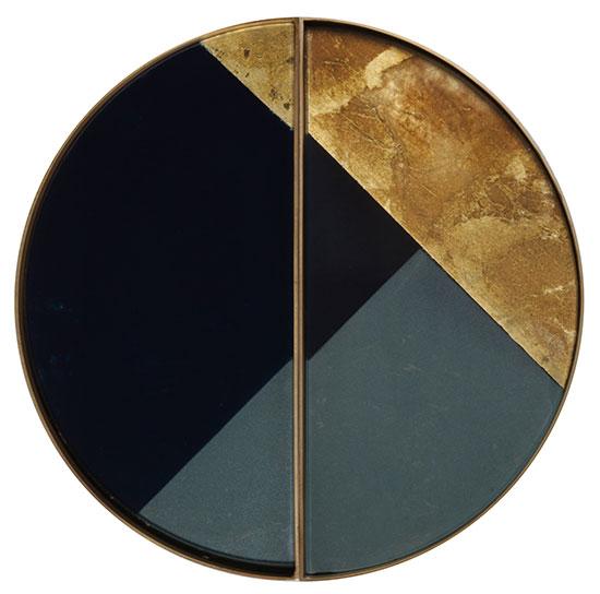 "2-teiliges Tablett ""Geometric Half Moon"" mit Hinterglas-Dekor"