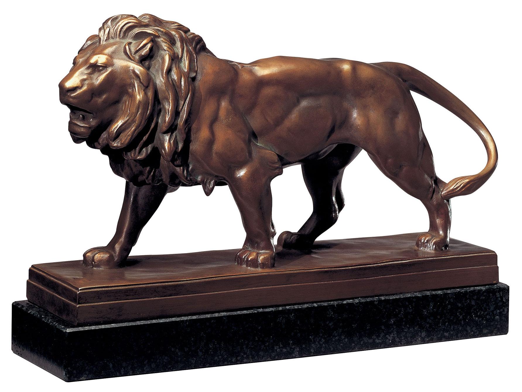 """Skulptur """"Attackierender Löwe"""", Kunstbronze"""