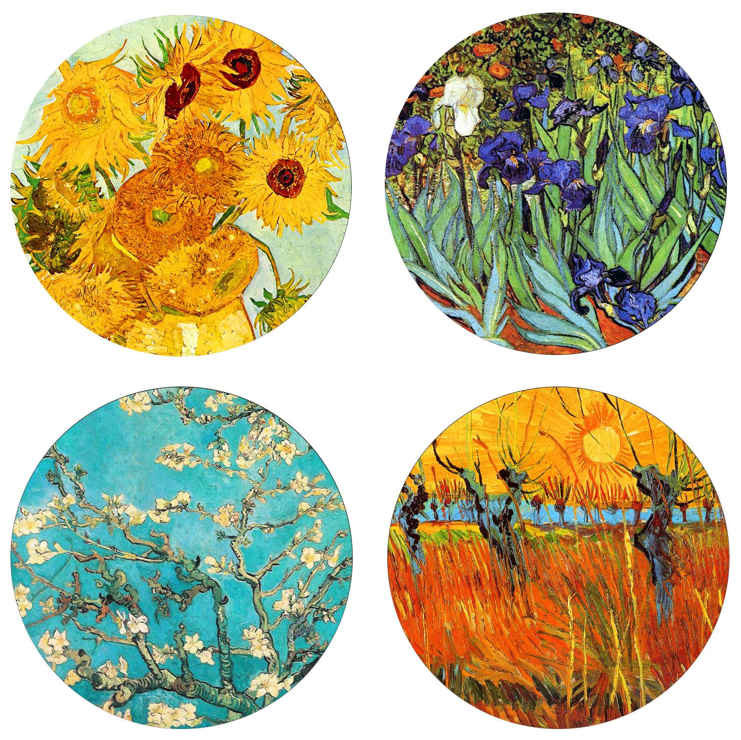 """Glas-Untersetzer """"Van Gogh"""", 4er-Set"""