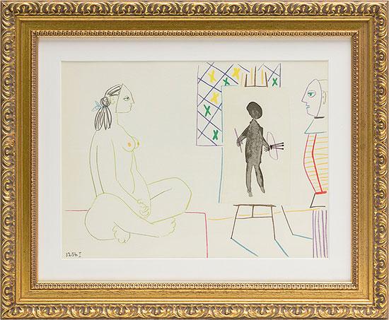 """Bild """"Maler und Modell"""" (1954), gerahmt"""