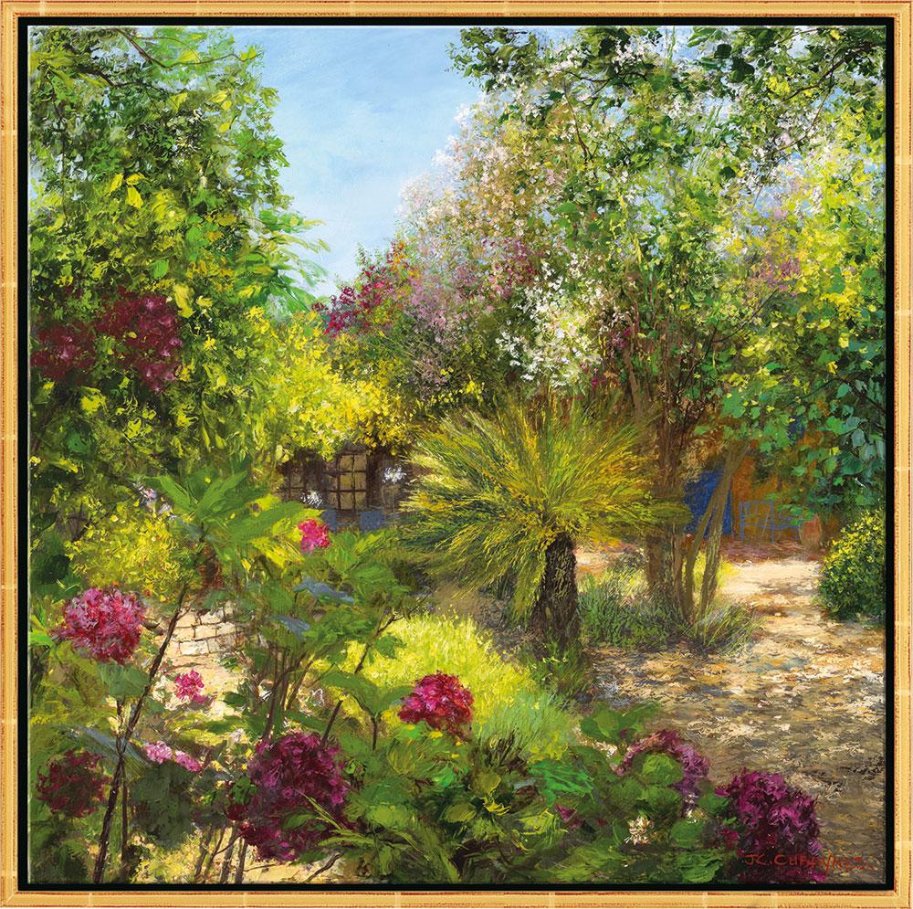"Bild ""Le Jardin, St. Tropez"", Version goldfarben gerahmt"